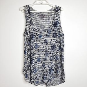 Lucky Brand Striped Blue Floral Tank Top